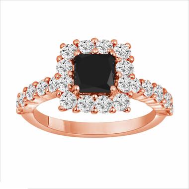 14k Rose Gold 2.29 Carat Princess Cut Black & White Diamond Engagement Ring handmade
