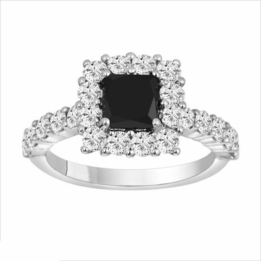 2.29 Carat Princess Cut Black & White Diamond Engagement Ring 14K White Gold handmade