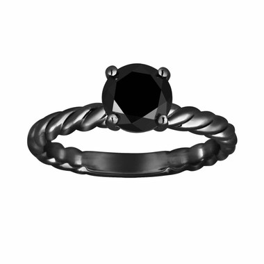 Fancy Black Diamond Solitaire Engagement Ring 1.07 Carat Vintage Style 14K Black Gold Rope Design HandMade