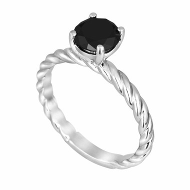 Fancy Black Diamond Solitaire Engagement Ring 14K White Gold Rope Design 1.07 Carat HandMade