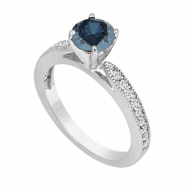 Fancy Blue & White Diamond Engagement Ring Certified 1.20 Carat 14K White Gold HandMade