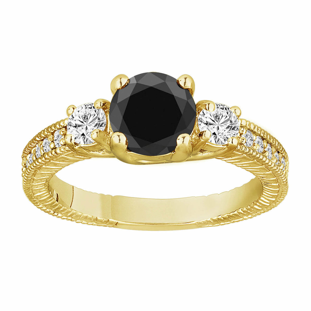Black Diamond Wedding Ring Three Stone Engagement Ring 18k Yellow