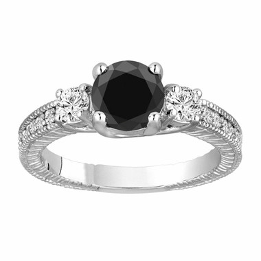 Platinum Fancy Black Diamond Three Stone Engagement Ring 1.58 Carat Vintage Antique Style Engraved Handmade