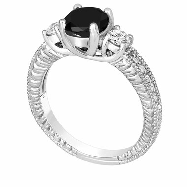 Fancy Black & White Diamond Three Stone Engagement Ring 1.42 Carat 14K White Gold Vintage Antique Style Engraved Handmade