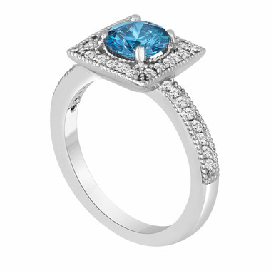 Platinum Diamond Engagement Ring Fancy Blue & White Damond 1.34 Carat Certified Halo Handmade