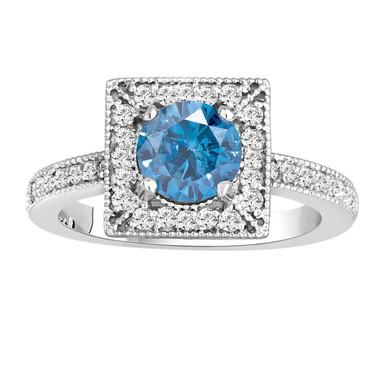 Diamond Engagement Ring Fancy Blue & White Damond 14K White Gold 1.34 Carat Certified Halo Handmade