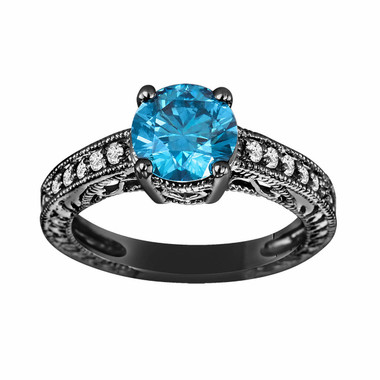 Fancy Blue & White Diamond Engagement Ring Vintage Style 14K Black Gold Certified 1.51 Carat Handmade Vintage Style