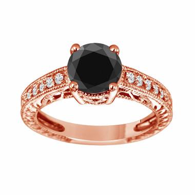 14K Rose Gold Fancy Black & White Diamond Engagement Ring Certified 1.66 Carat Handmade Vintage Style