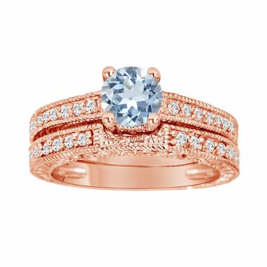 Aquamarine & Diamond Engagement Ring And Wedding Anniversary Diamond Band Sets 14K Rose Gold 1.14 Carat HandMade Vintage Style Engraved