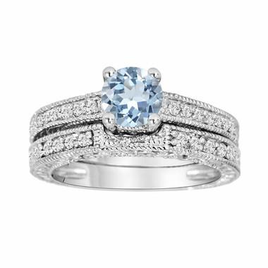 Aquamarine & Diamond Engagement Ring And Wedding Anniversary Diamond Band Sets 14K White Gold 1.14 Carat HandMade Antique Style Engraved