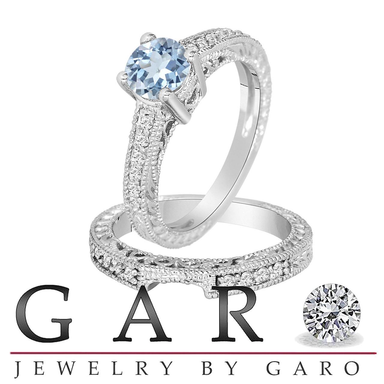 31c926e49 Aquamarine & Diamond Engagement Ring And Wedding Anniversary Diamond Band  Sets 14K White Gold 1.14 Carat. Larger / More Photos