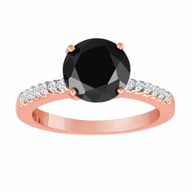 14K Rose Gold Fancy Black & White Diamond Engagement Ring 2.21 Carat handmade