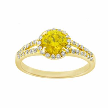 Fancy Yellow & White Diamonds Halo Engagement Ring 1.35 Carat 14K Yellow Gold HandMade