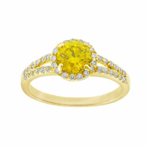 Fancy Yellow & White Diamonds Halo Engagement Ring 1.35 Carat 14K Yellow Gold HandMade