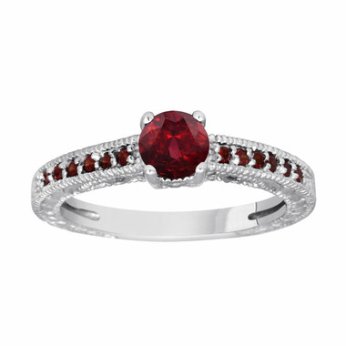 Garnet Engagement Ring 14K White Gold 0.65 Carat Certified Birthstone Vintage Antique Style Engraved Handmade