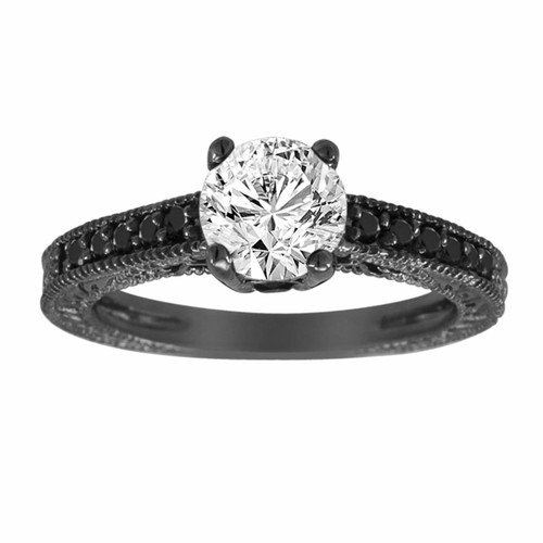 Natural White & Black Diamond Engagement Ring Antique Vintage Style Engraved 14K Black Gold 1.22 Carat Certified Handmade