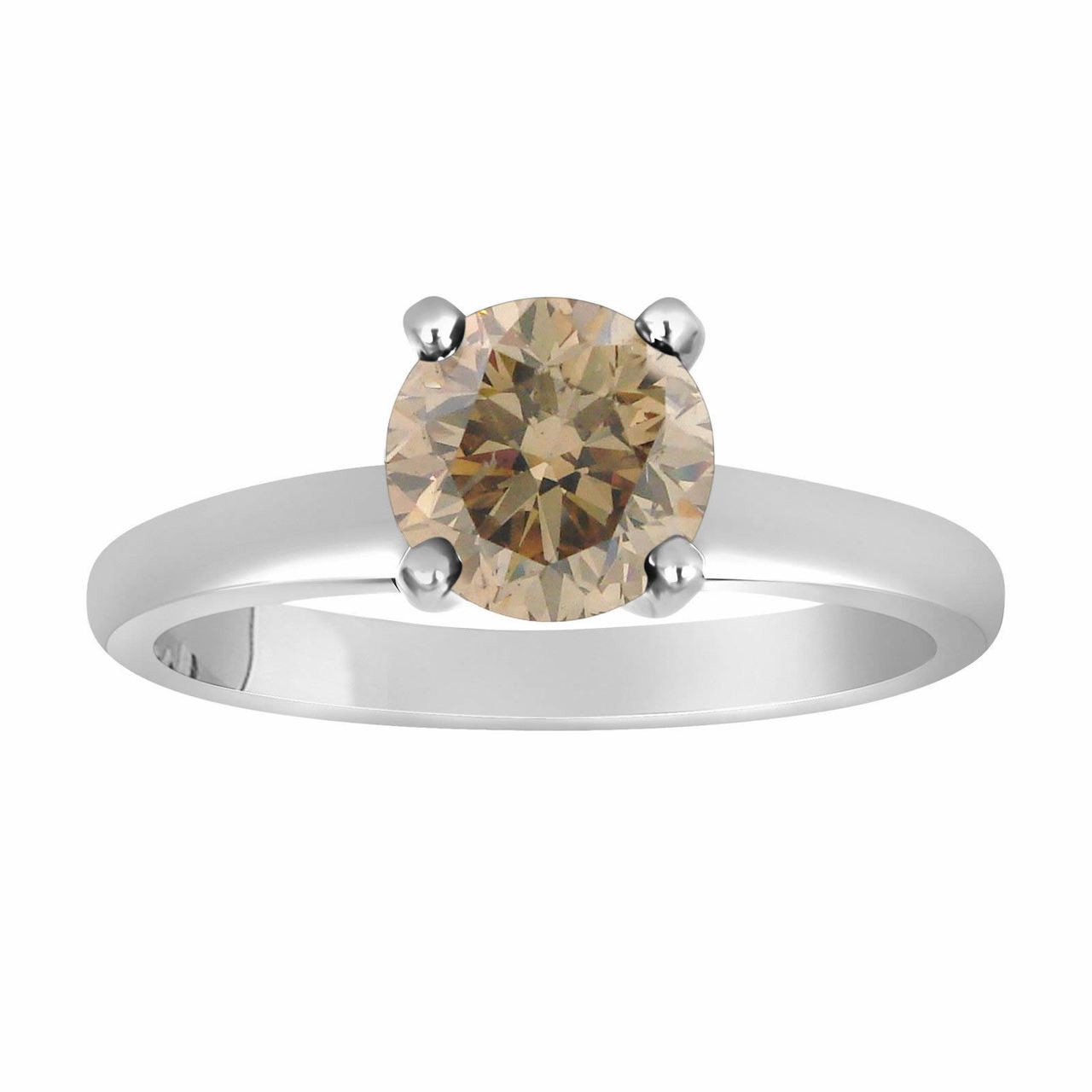 df86ee4057b4c Natural Champagne Brown Diamond Solitaire Engagement Ring 0.60 Carat  Certified 14K White Gold