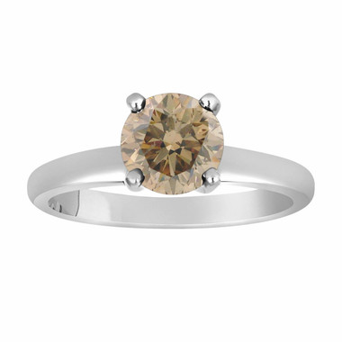 Natural Champagne Brown Diamond Solitaire Engagement Ring 0.60 Carat Certified 14K White Gold