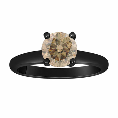 Natural Champagne Brown Diamond Solitaire Engagement Ring 0.60 Carat Vintage Style 14K Black Gold Certified