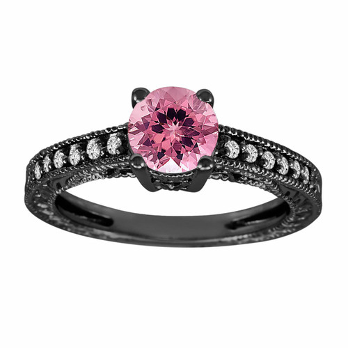 Pink Tourmaline & Diamond Engagement Ring Vintage Style 14K Black Gold 1.00 Carat Antique Vintage Style Engraved handmade