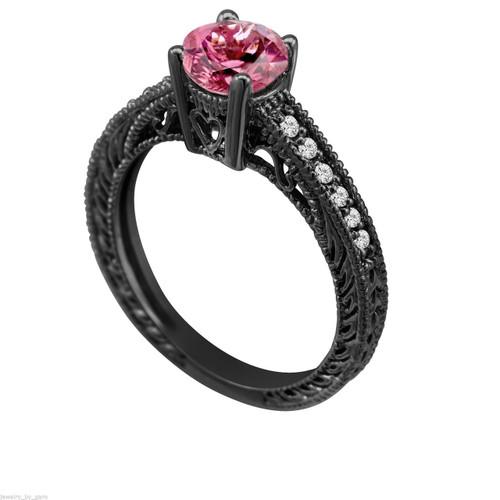 Pink Tourmaline & Diamond Engagement Ring Vintage Style 14K Black Gold 0.64 Carat Antique Vintage Style Engraved handmade