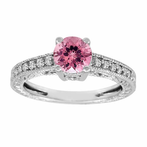Pink Tourmaline & Diamond Engagement Ring 14K White Gold 0.70 Carat Antique Vintage Style Engraved handmade