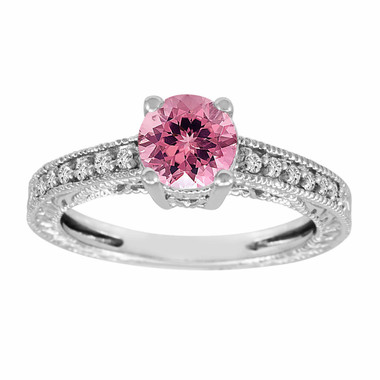 Pink Tourmaline & Diamond Engagement Ring 14K White Gold 1.00 Carat Antique Vintage Style Engraved handmade