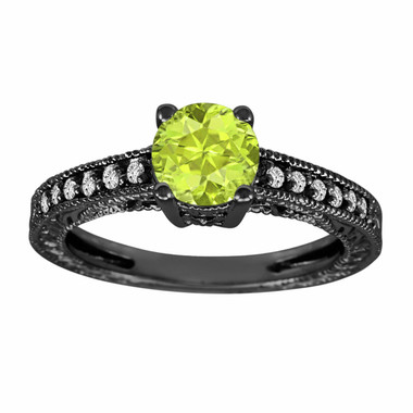 Peridot & Diamonds Engagement Ring Vintage Style 14K Black Gold 1.14 Carat Antique Vintage Style Engraved handmade