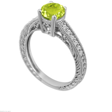 Green Peridot Engagement Ring, Peridot and Diamond Wedding Ring, 14K White Gold 0.74 Carat Antique Vintage Style Engraved handmade