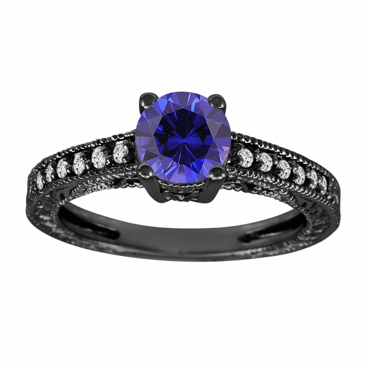 Blue Sapphire Amp Diamonds Engagement Ring Vintage Style 14k