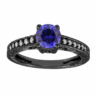Blue Sapphire & Diamonds Engagement Ring Vintage Style 14K Black Gold 1.14 Carat Antique Vintage Style Engraved handmade