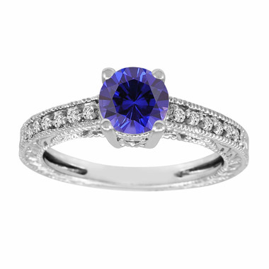 Blue Sapphire & Diamonds Engagement Ring 14K White Gold 1.14 Carat Antique Vintage Style Engraved handmade