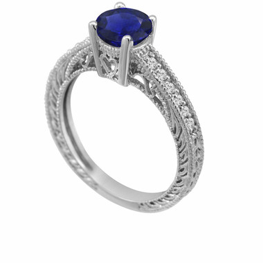 Blue Sapphire & Diamonds Engagement Ring 14K White Gold 0.75 Carat Antique Vintage Style Engraved handmade
