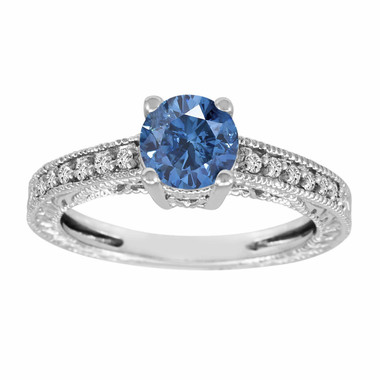 Fancy Blue & White Diamond Engagement Ring 14K White Gold 1.00 Carat Antique Vintage Style Engraved handmade