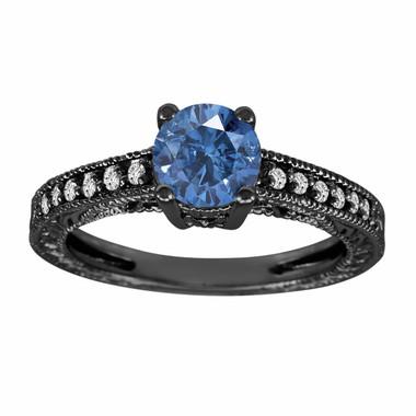 Fancy Blue & White Diamond Engagement Ring Vintage Style 14K Black Gold 1.00 Carat Antique Vintage Style Engraved handmade