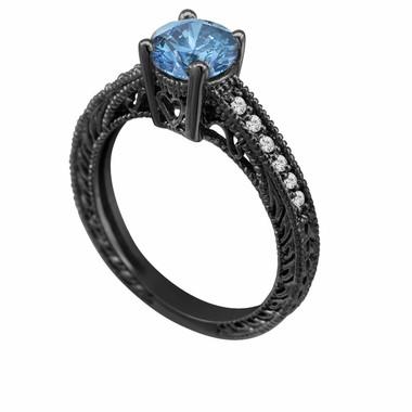Fancy Blue & White Diamond Engagement Ring Vintage Style 14K Black Gold 0.64 Carat Antique Vintage Style Engraved handmade