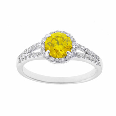 Fancy Yellow & White Diamond Halo Engagement Ring 14K White Gold 1.35 Carat HandMade