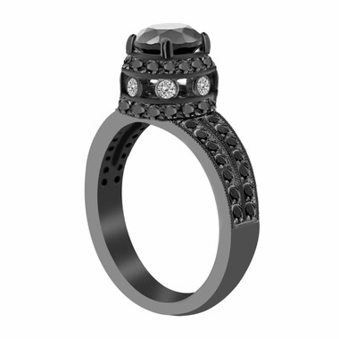 Fancy Black Diamond Engagement Ring Vintage Style 14K Black Gold 1.88 Carat Certified Pave Set HandMade Unique Ring