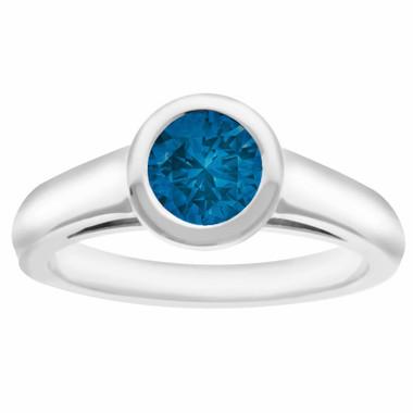 Blue Diamond Solitaire Engagement Ring 14K White Gold 0.95 Carat SI1 Bezel Set HandMade Heavy Ring