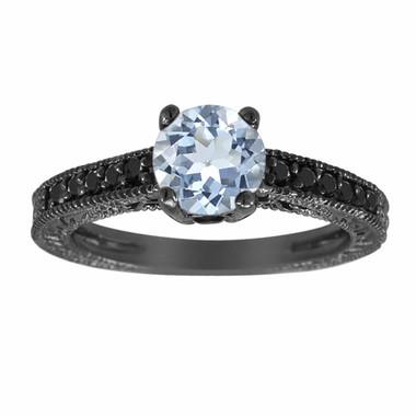 Aquamarine & Fancy Black Diamonds Engagement Ring Vintage Style 14K Black Gold 1.10 Carat Birthstone Antique Style Engraved Handmade