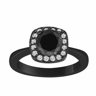 Fancy Black & White Diamond Halo Engagement Ring 1.30 Carat Vintage Style 14K Black Gold handmade Certified