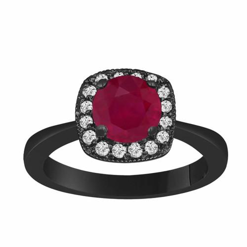 1.23 Carat Vintage Style 14K Black Gold Ruby & Diamonds Halo Engagement Ring handmade