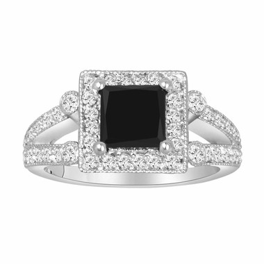 1.82 Carat Natural Princess Black & White Diamond Engagement Ring Certified 14k White Gold Unique Halo HandMade