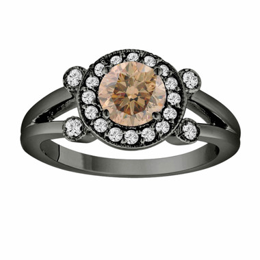Champagne & White Diamond Engagement Ring Vintage Style 14k Black Gold 1.03 Carat Certified Unique Halo