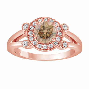 Champagne & White Diamond Engagement Ring 14k Rose Gold 1.03 Carat Unique Halo Certified