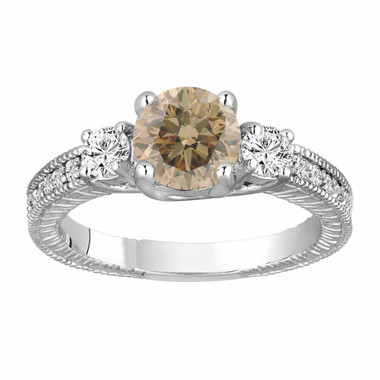 Champagne Brown Diamond Three Stone Engagement Ring 1.38 Carat 14K White Gold Vintage Antique Style Engraved Handmade