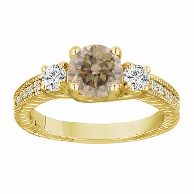 Champagne Brown & White Diamond Three Stone Engagement Ring 1.38 Carat 14K Yellow Gold Vintage Antique Style Engraved Handmade
