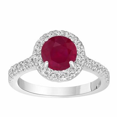 Ruby & Diamond Engagement Ring 950 Platinum 1.65 Carat Bridal Halo Ring HandMade