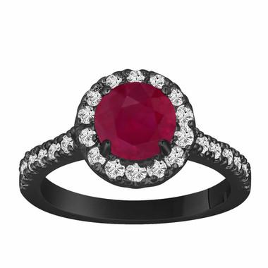 Ruby & Diamond Engagement Ring 1.65 Carat Vintage Style 14K Black Gold Bridal Halo HandMade