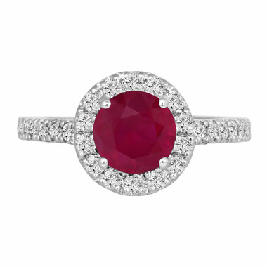 Ruby & Diamond Engagement Ring 1.65 Carat 14K White Gold Bridal Halo Ring HandMade